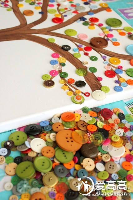 """#有""""扣""""暖起来,把""""彩""""带回家# 纽扣树艺术-孩子的伟大工艺理念!!"""
